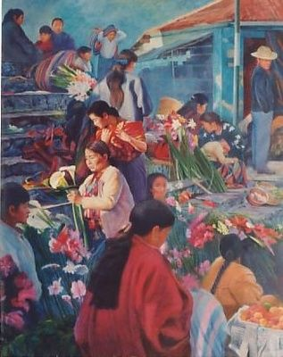 """Painting titled """"market scene"""" by Cee, Original Art,"""
