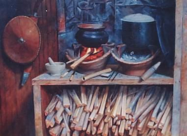 """Painting titled """"asian cooking"""" by Cee, Original Art,"""