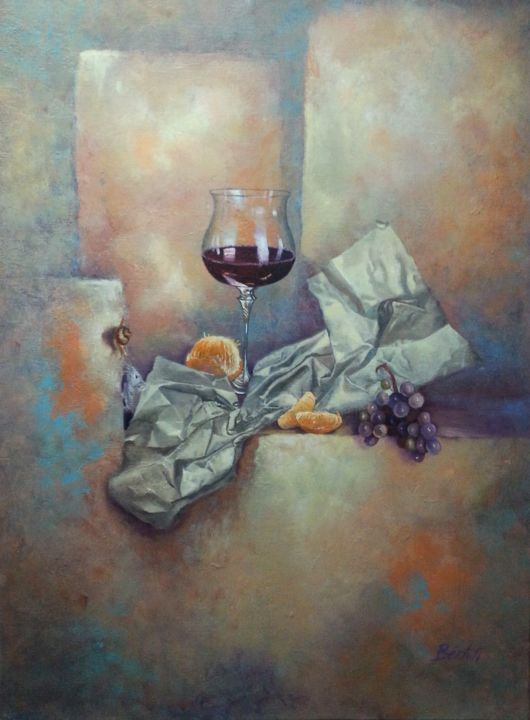 DEGUSTATION - ©  NATURE MORTE, ART, ART DE LA SCENE, PEINTURE, SCENE DE VIE, VERRE, PAPIER, RAISINS, ORANGE, MANDARINE, MUR, VIN, ESCARGOT, SOURIS, BLANC, JAUNE, MARRON Online Artworks