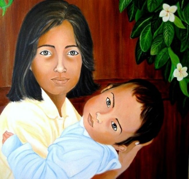 Miradas de Sulawesi (Indonesia) - Painting ©2007 by Carmen G. Junyent -                        Realism