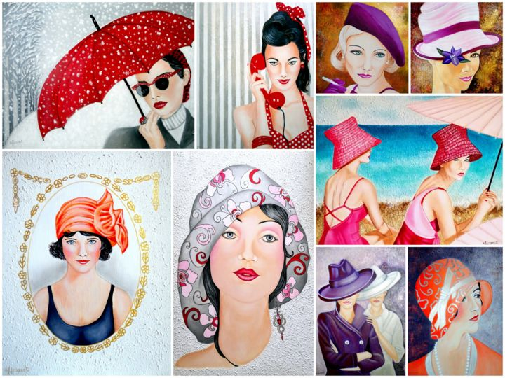 MIRADAS DE GLAMOUR (collage de varias de mis pinturas relacionadas con el Glamour) - Photography,  30x40x1 cm ©2012 by Carmen G. Junyent -                                                                                            Art Nouveau, Pop Art, Realism, Portraiture, Women, Portraits, collage