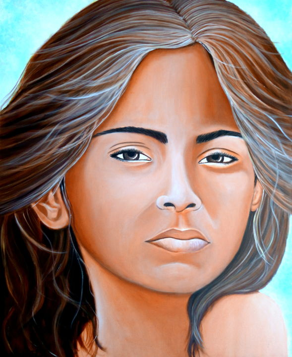 MIRADA ALTIVA - Painting,  100x82x2 cm ©2015 by Carmen G. Junyent -                                                                                                                                    Figurative Art, Realism, Portraiture, Canvas, Asia, Culture, World Culture, Women, Portraits, art, arte, pintura, asia, india, miradas del mundo, junyent