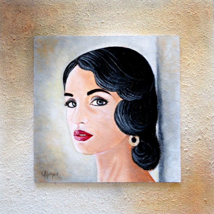 GLAMOUR Nº 12 - Painting,  11.8x11.8x0.4 in, ©2015 by Carmen Gomez Junyent (Carmen G. Junyent) -                                                                                                                                                                                                                                                                                                                                                                                                                                                                                                                                                                                                                                                                                                                                                                          Figurative, figurative-594, Fashion, Women, People, Portraits, art, arte, glamour, acrilico, mujer, belleza, años 50, andaluza, andalucia, junyent