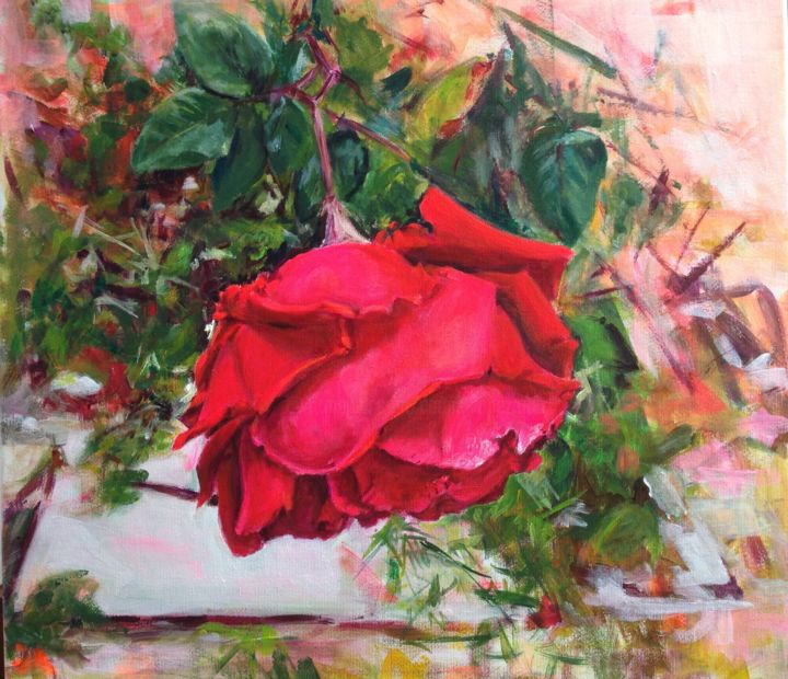 rosa caida - Painting,  11.8x11.8x0.8 in, ©2017 by Carmen Lopez Martinez -                                                                                                                                                                                                                                                                      Figurative, figurative-594, Flower, flores, rosa