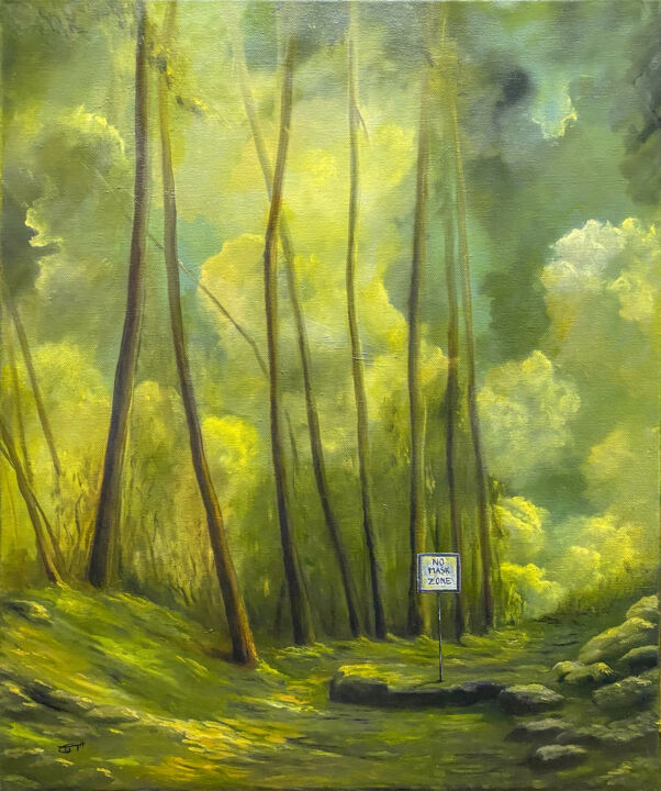 No Mask Zone - Painting,  23.6x19.7x0.8 in, ©2020 by Carola Eleonore Thiele -                                                                                                                                                                                                                                                                                                                                                                                                      Impressionism, impressionism-603, No mask, Zone, Nature, Yellow, green, Forest