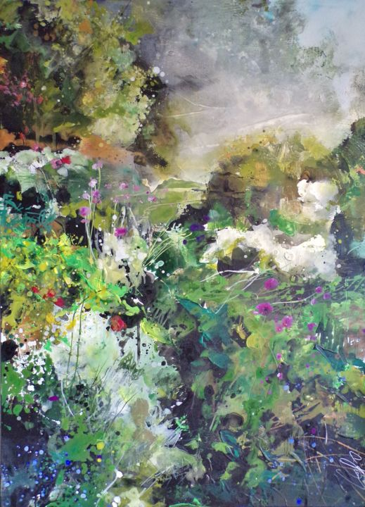 """Painting titled """"Poétiques du paysag…"""" by Carole Bressan, Original Art, Acrylic Mounted on Stretcher frame"""
