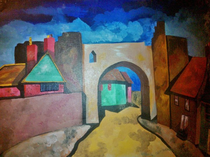 """Painting titled """"borgo medievale a t…"""" by Carolina Paoletti, Original Art,"""