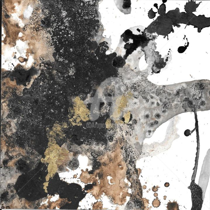 café or - Printmaking,  7.9x7.9x0.2 in, ©2020 by Caroline Hume -                                                                                                                                                                                                                                                                  Abstract, abstract-570, encre de chine, encre brune, feuille d'or