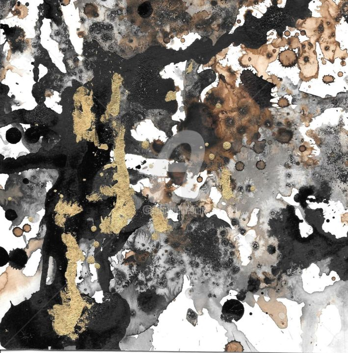 café doré - Printmaking,  7.9x7.9 in, ©2020 by Caroline Hume -                                                                                                                                                                                                                                                                  Abstract, abstract-570, encre de chine, feuille d 'or, encre brune