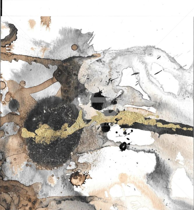 café crème - Printmaking,  7.9x7.9 in, ©2020 by Caroline Hume -                                                                                                                                                                                                                      Abstract, abstract-570, encre de chine, feuille d'or