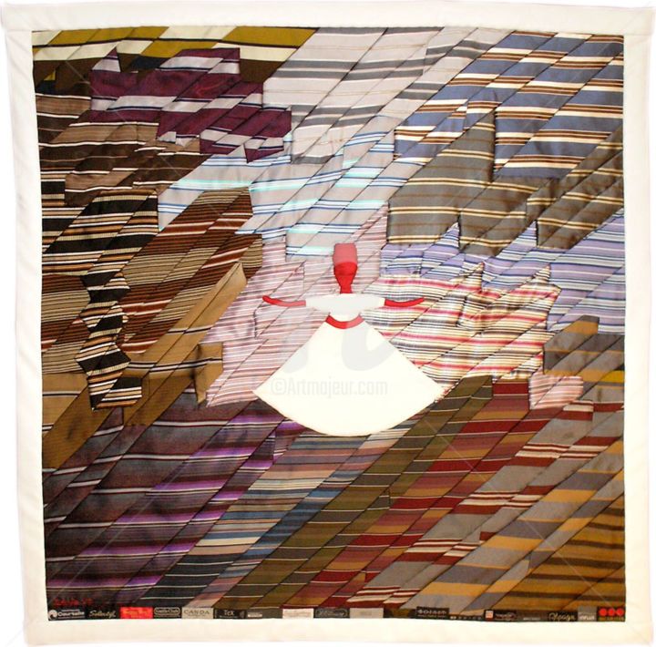 Toupie - Textile Art,  39.4x39.4 in, ©2013 by Caroline Regnaut -                                                                                                                                                                                                                                                                                                                                                              Figurative, figurative-594, People, danse, derviche tourneur, déformation, cravate