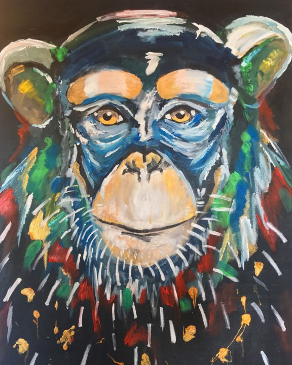 Monkey.jpg - Painting,  81x60x2 cm ©2019 by Caroline Franche -                                                            Outsider Art, Cotton, Animals, jungle, singe, monkey, acrylique, portrait, face, primate, modern