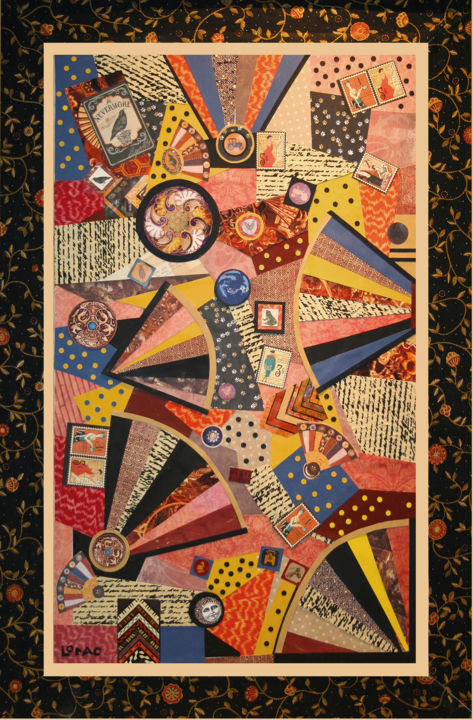 """Collages titled """"fan-dance-2"""" by Carol Lorac Young, Original Art,"""