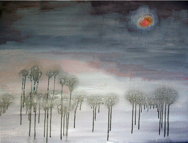 """Painting titled """"Fog On Clay Forest"""" by Carol Lorac Young, Original Art,"""