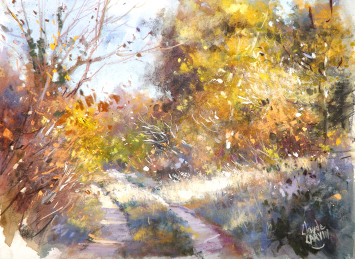 chemin-ensoleille.jpg - Painting,  30x40 cm ©2015 by Claude Carvin -                                                        Impressionism, Paper, Landscape