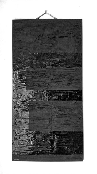 Extase... - Painting,  47.2x23.6 in, ©2017 by Casal'Art -                                                                                                                                                                                                                                                                                                                                                                                                                                                                                                                                                                                                                                                                                      Abstract, abstract-570, Wood, Sand, Abstract Art, art, contemporain, design, déco, abstrait, moderne, noir, mat, brillant