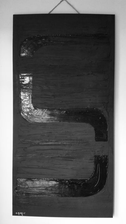 Subliminal ... - Painting,  47.2x23.6 in, ©2017 by Casal'Art -                                                                                                                                                                                                                                                                                                                                                                                                          Abstract, abstract-570, Abstract Art, Art, modern, design, contemporary, Black