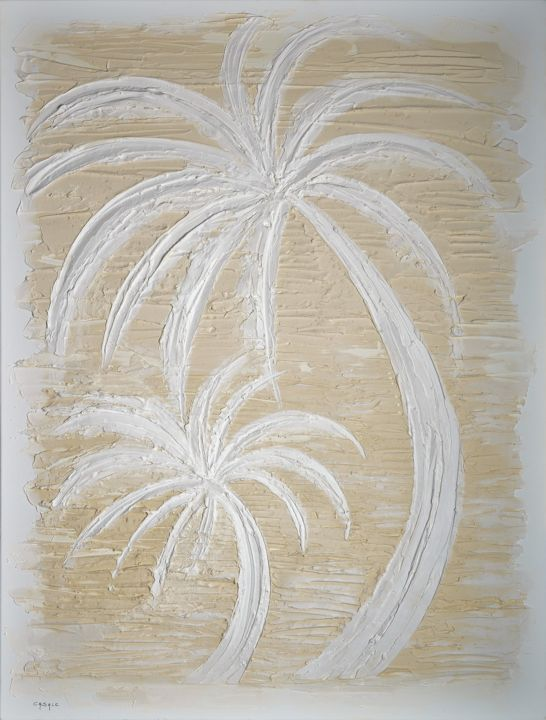 Ponant - Painting,  45.3x35 in, ©2017 by Casal'Art -                                                                                                                                                                                                                                                                                                                                                                                                                                                                                                                                                                                                                                          Outsider Art, outsider-art-1044, Other, Sand, Canvas, Tree, art, contemporain, moderne, décoration, style, Vent, palmiers