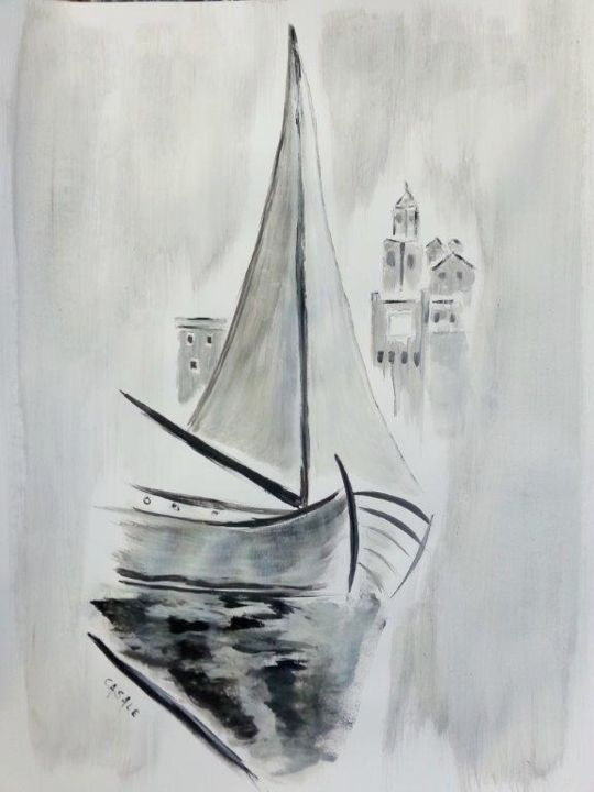 Galère au repos - Painting, ©2014 by Casal'Art -                                                              Sailboat