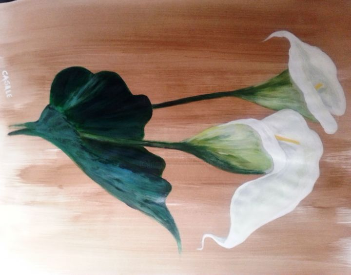 Les Arums - Painting, ©2013 by Casal'Art -                                                              Flower