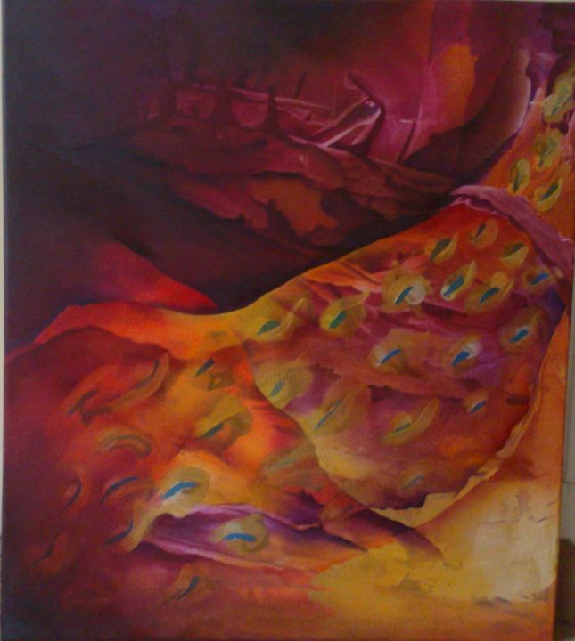 ARGOS PANOPTES - Painting,  35.4x31.5x1 in, ©2009 by Patricia Casanova -                                                                                                                          Abstract, abstract-570