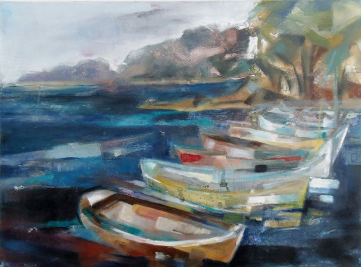 barques-1 - Painting,  23.6x28.7 in, ©2014 by Catherine Cascio -                                                                                                              Seascape, mer barques marine bord de mer  pointus