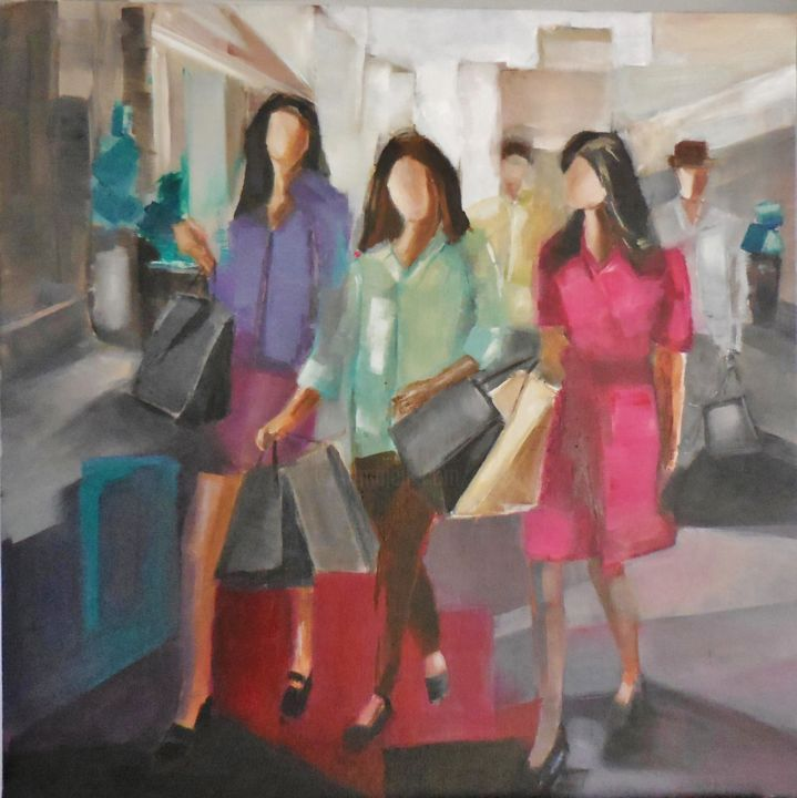 """""""shopping"""" - Painting,  31.5x31.5 in, ©2015 by Catherine Cascio -                                                                                                                                                                                                      Women, shopping, vie urbaine, entre copine"""