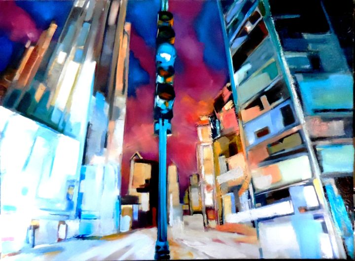 Chicago-by-night.jpg - Painting,  25.6x31.9 in ©2016 by Catherine Cascio -                                            Contemporary painting, Cityscape, lumières, ville