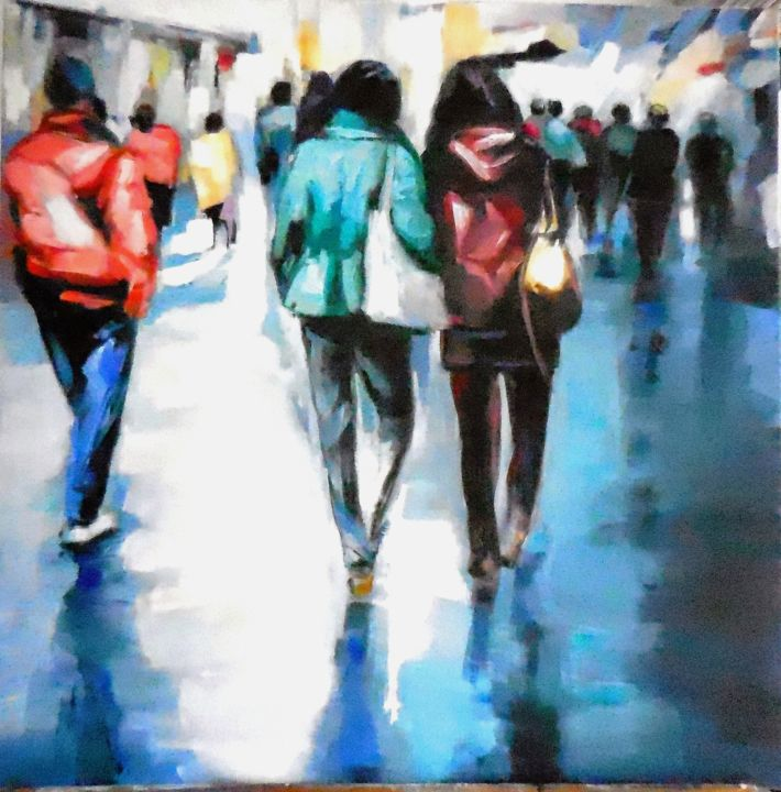 passants.jpg - Painting,  27.6x27.6x27.6 in, ©2016 by Catherine Cascio -                                                                                                              Cityscape, ville pietons passants