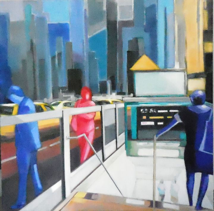 001.jpg - Painting,  31.5x31.5 in ©2016 by Catherine Cascio -                                            Contemporary painting, Cityscape, ville métro N Y  urbain