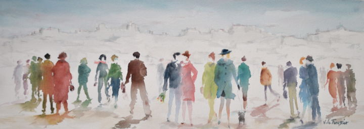 Touristes - Painting,  24x66 cm ©2018 by Le Forestier -            Personnages