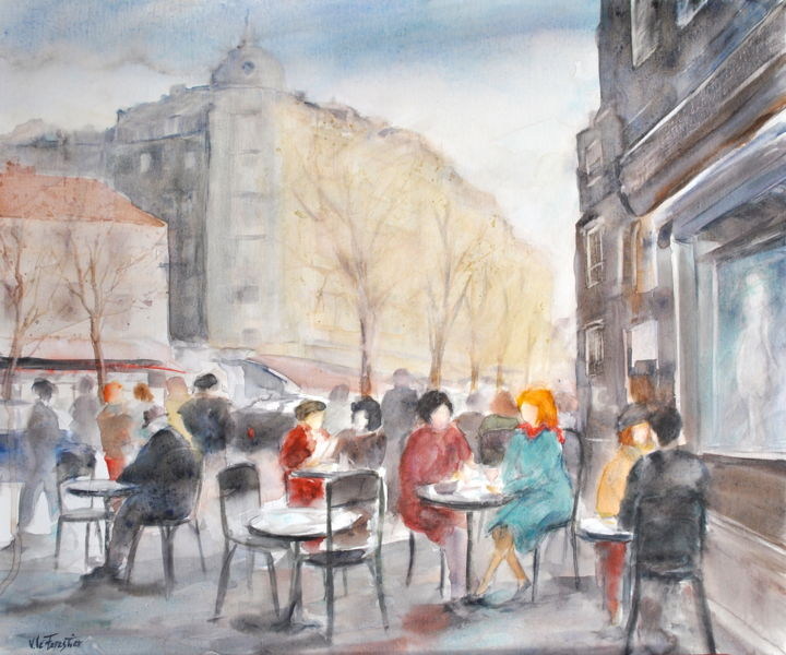 Terrasse à Paris l'hiver - Painting,  46x54.5 cm ©2017 by Le Forestier -                        Canvas