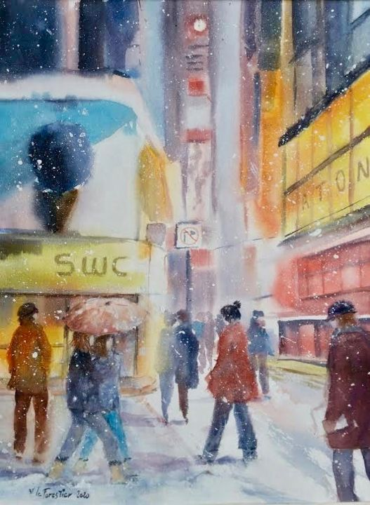 Neige à Time Square - Painting,  15x11 in, ©2020 by Le Forestier -                                                                                                                          Figurative, figurative-594