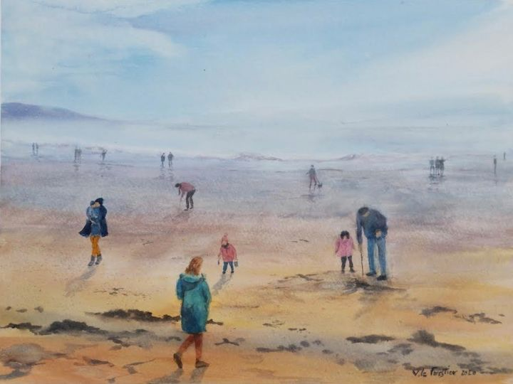 plage de Dinard - Painting,  10.6x14.6 in, ©2020 by Le Forestier -                                                                                                                          Figurative, figurative-594
