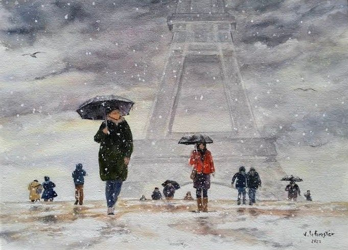 Au Trocadero neige - Painting,  10.6x14.6 in, ©2020 by Le Forestier -                                                                                                                                                                          Figurative, figurative-594, Cities