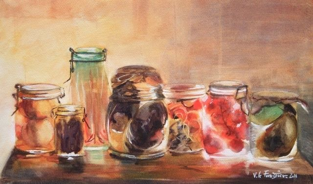 Conserves - Painting,  36x22 cm ©2011 by Le Forestier -