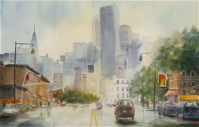 Vers Manhattan - Painting,  49x31 cm ©2011 by Le Forestier -