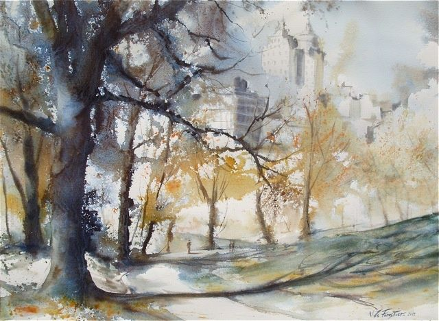 Central Park - Painting,  44x60 cm ©2012 by Le Forestier -