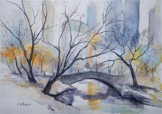 Pont à Central Park - Painting,  37.5x27 cm ©2013 by Le Forestier -