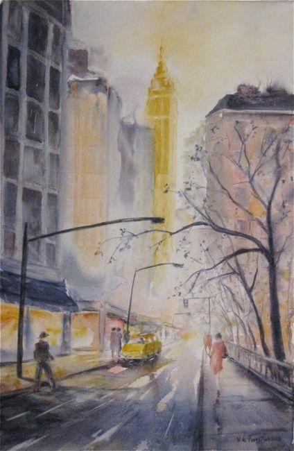 Rue de New York - Painting,  41x27 cm ©2013 by Le Forestier -
