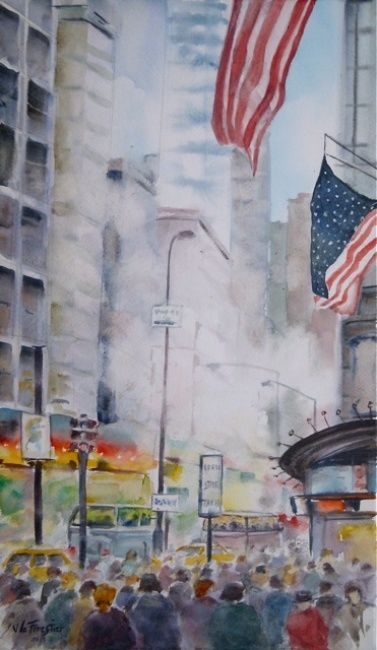 Agitation new yorkaise - Painting,  41x24 cm ©2013 by Le Forestier -