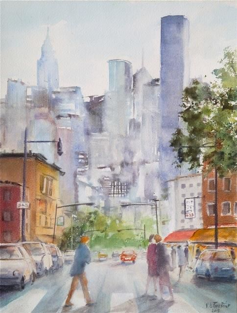 Route de Manhattan - Painting,  13.8x10.6 in, ©2013 by Le Forestier -