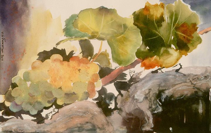 Raisin et sa branche - Painting,  29x21 cm ©2012 by Le Forestier -