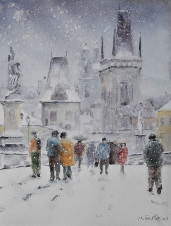 Prague - Painting,  38x28 cm ©2015 by Le Forestier -