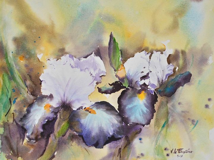 iris-1 - Painting,  10.6x15 in, ©2015 by Le Forestier -                                                              FLEUR