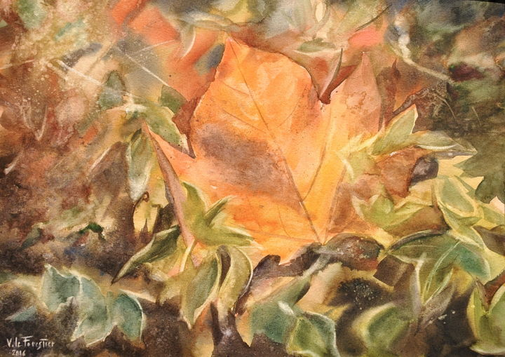 une feuille d'automne - Painting,  38x28 cm ©2017 by Le Forestier -                        Figurative Art