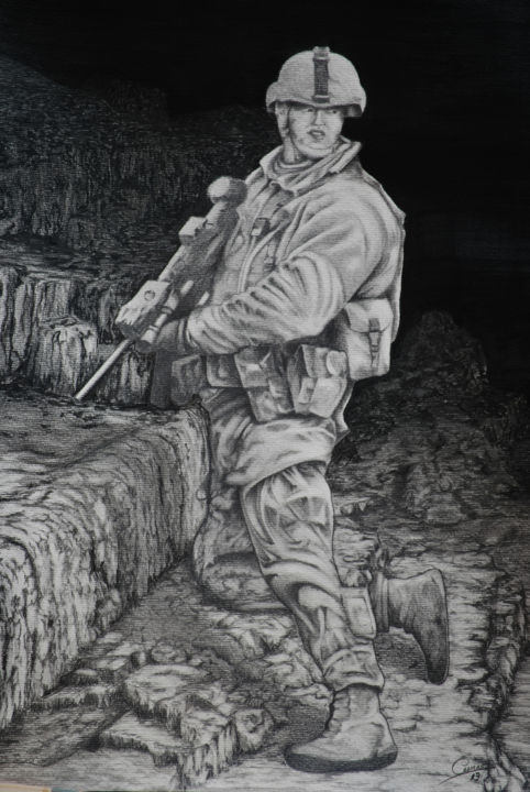 """Painting titled """"HOSTILIDADES"""" by Cassiano Lima, Original Art, Graphite Mounted on Cardboard"""