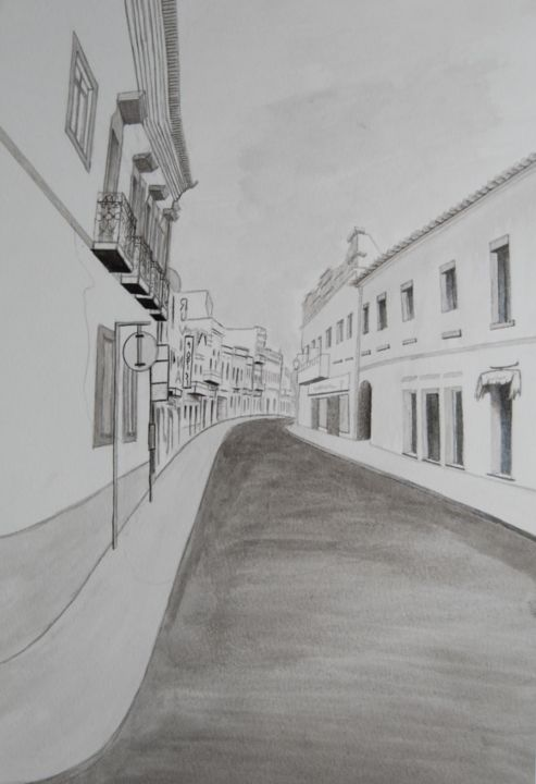 """Painting titled """"rua 3"""" by Cassiano Lima, Original Art, Ink Mounted on Cardboard"""