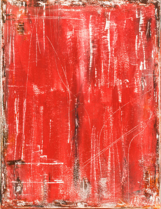 Red-Raw - Painting,  80x60x2 cm ©2019 by cass stoddart -                                            Abstract Expressionism, Abstract Art, abstract, original, red, scratched, weathered, unique