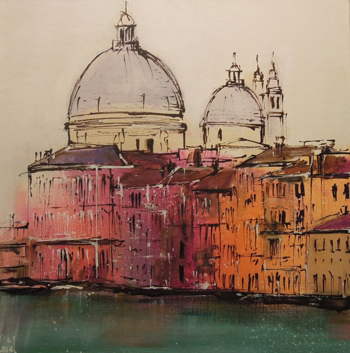 Venise, Canal Grande - Painting,  14.2x14.2 in, ©2018 by Michel Castel -                                                                                                                                                                          Figurative, figurative-594, Cityscape